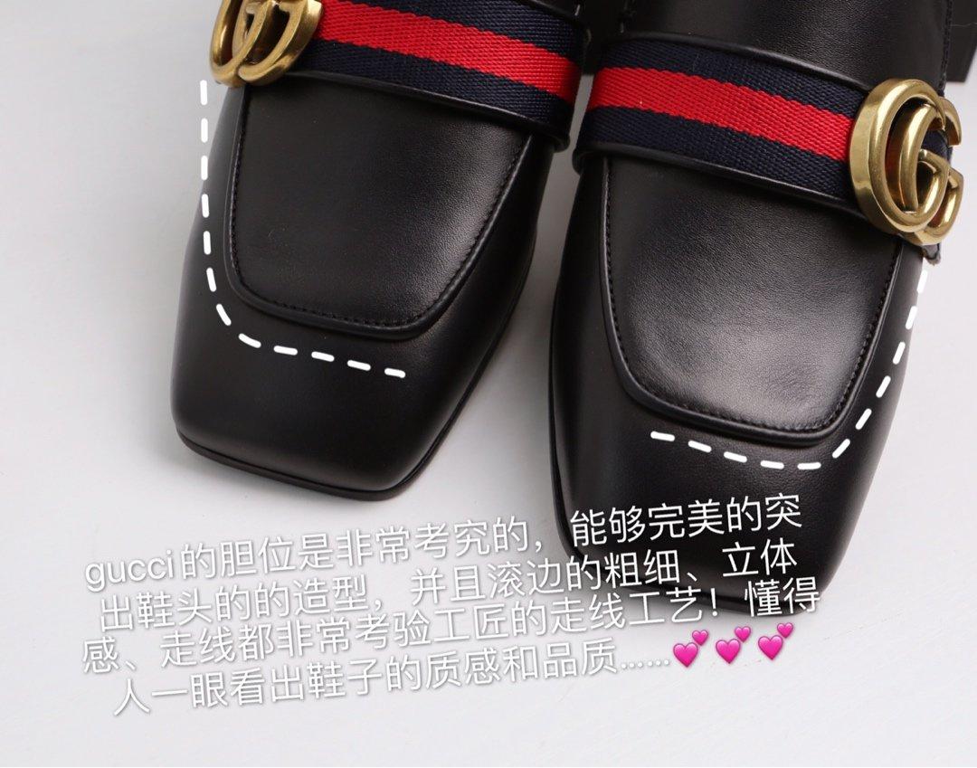 GUCCi经典款方头双G珍珠中跟穆勒鞋 蓝/红纯棉织带代购级(图8)