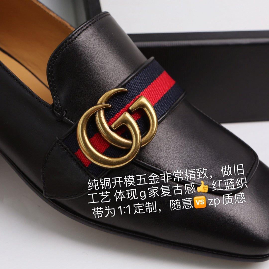 GUCCi经典款方头双G珍珠中跟穆勒鞋 蓝/红纯棉织带代购级(图9)