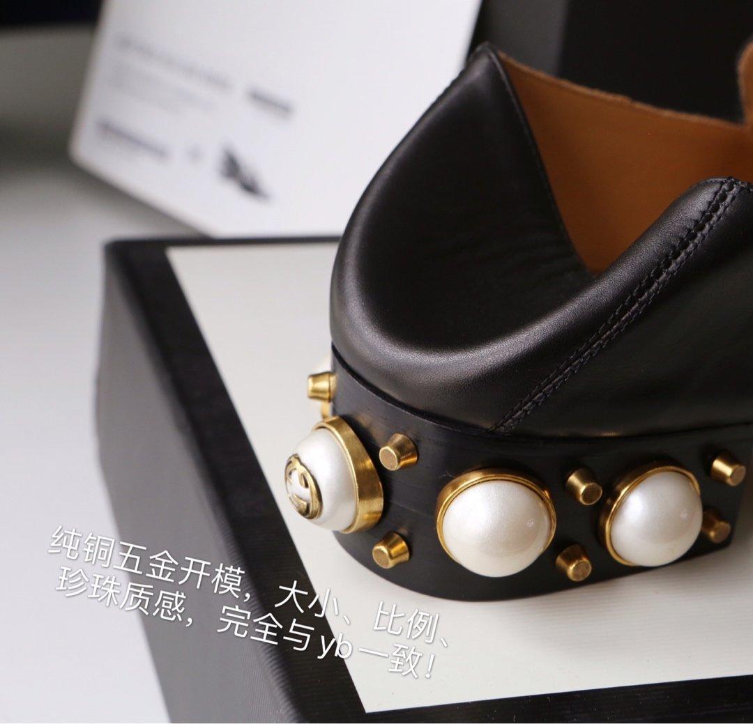 GUCCi经典款方头双G珍珠中跟穆勒鞋 蓝/红纯棉织带代购级(图10)