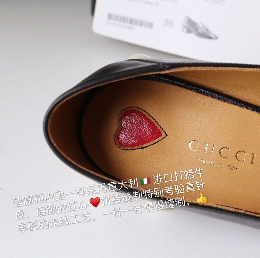 GUCCi经典款方头双G珍珠中跟穆勒鞋 蓝/红纯棉织带代购级(图11)