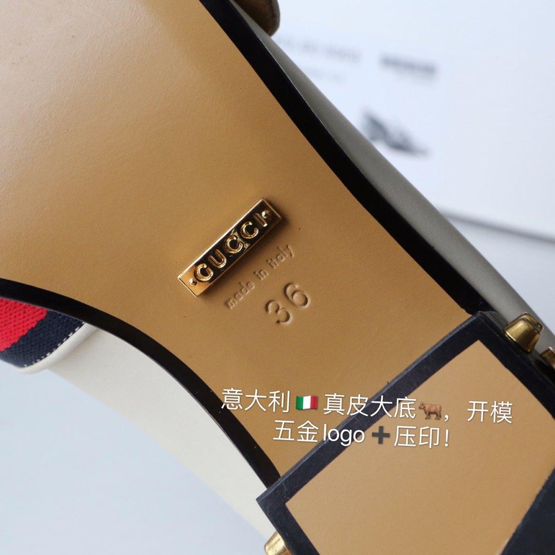 GUCCi经典款方头双G珍珠中跟穆勒鞋 蓝/红纯棉织带代购级(图12)