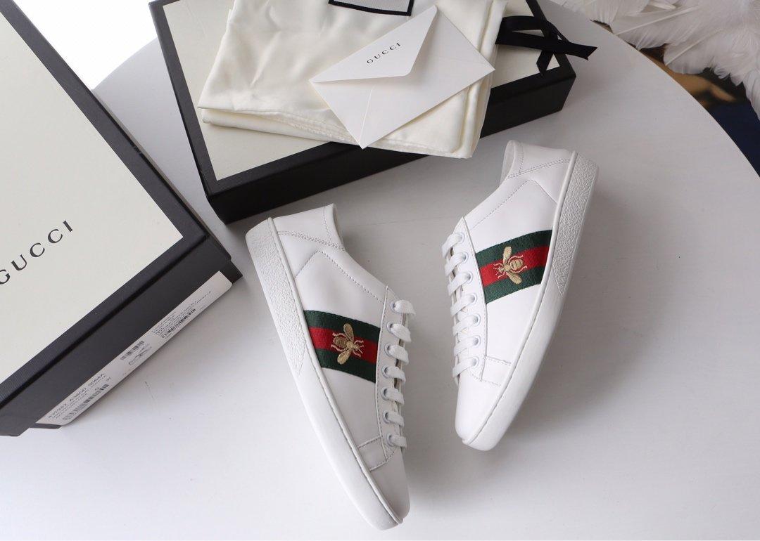 Gucci Ace Sneakers 代购级别苹果/小蜜蜂两穿脚踩小白鞋(图2)