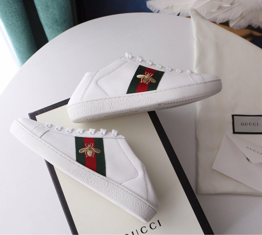 Gucci Ace Sneakers 代购级别苹果/小蜜蜂两穿脚踩小白鞋(图4)