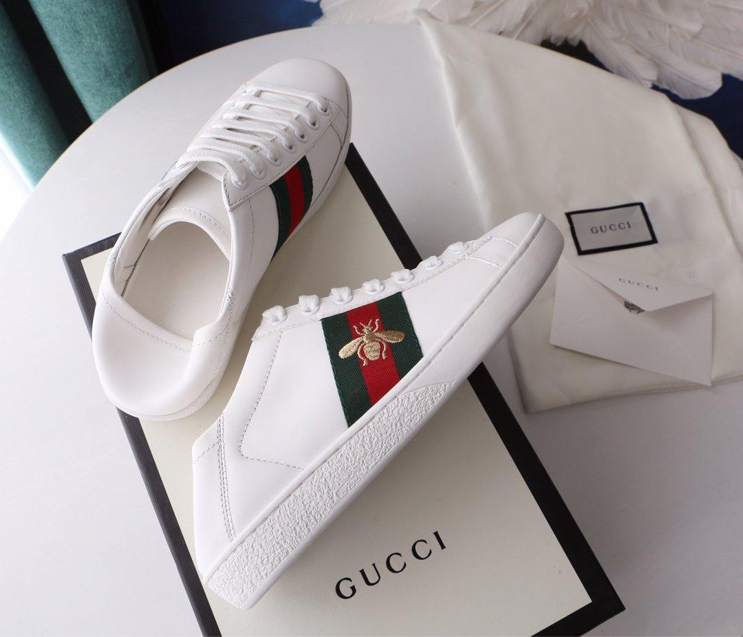 Gucci Ace Sneakers 代购级别苹果/小蜜蜂两穿脚踩小白鞋(图3)