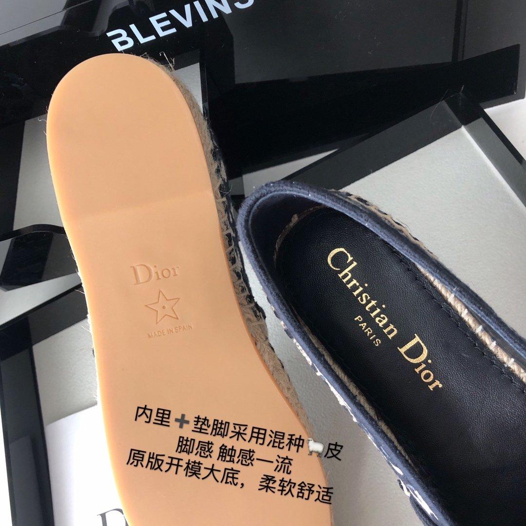Dior 春夏新款迪奥渔夫鞋 OBLIQUE图案提花刺绣帆布草编渔夫鞋 (图5)