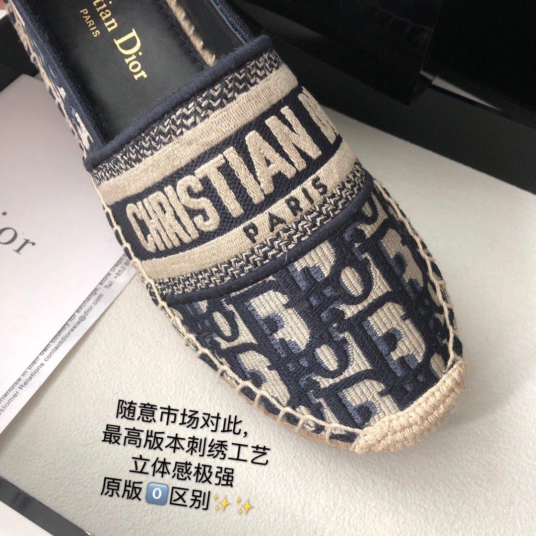 Dior 春夏新款迪奥渔夫鞋 OBLIQUE图案提花刺绣帆布草编渔夫鞋 (图4)