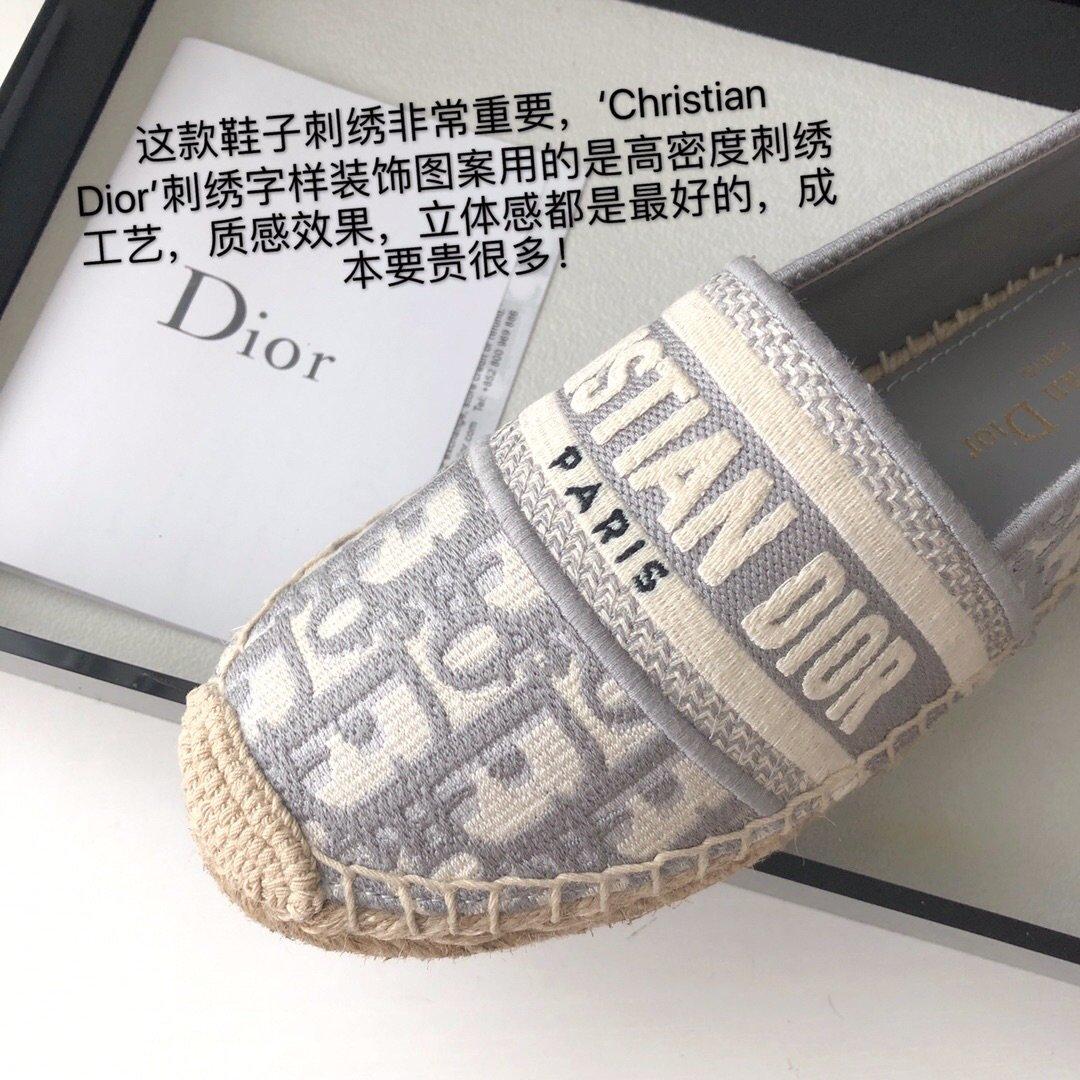 Dior 春夏新款迪奥渔夫鞋 OBLIQUE图案提花刺绣帆布草编渔夫鞋 (图6)