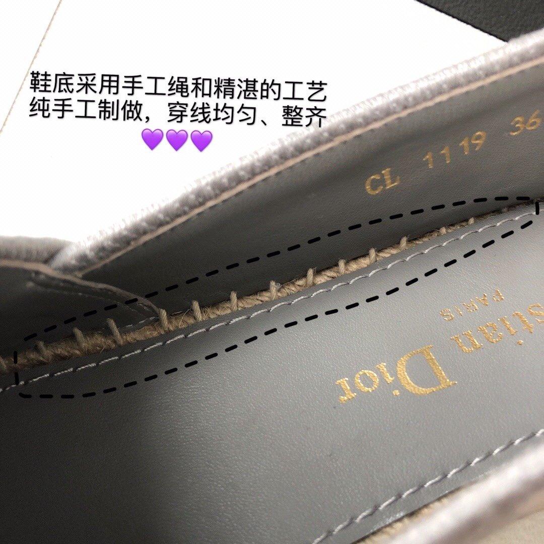 Dior 春夏新款迪奥渔夫鞋 OBLIQUE图案提花刺绣帆布草编渔夫鞋 (图8)