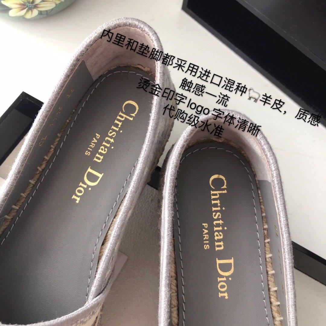 Dior 春夏新款迪奥渔夫鞋 OBLIQUE图案提花刺绣帆布草编渔夫鞋 (图7)