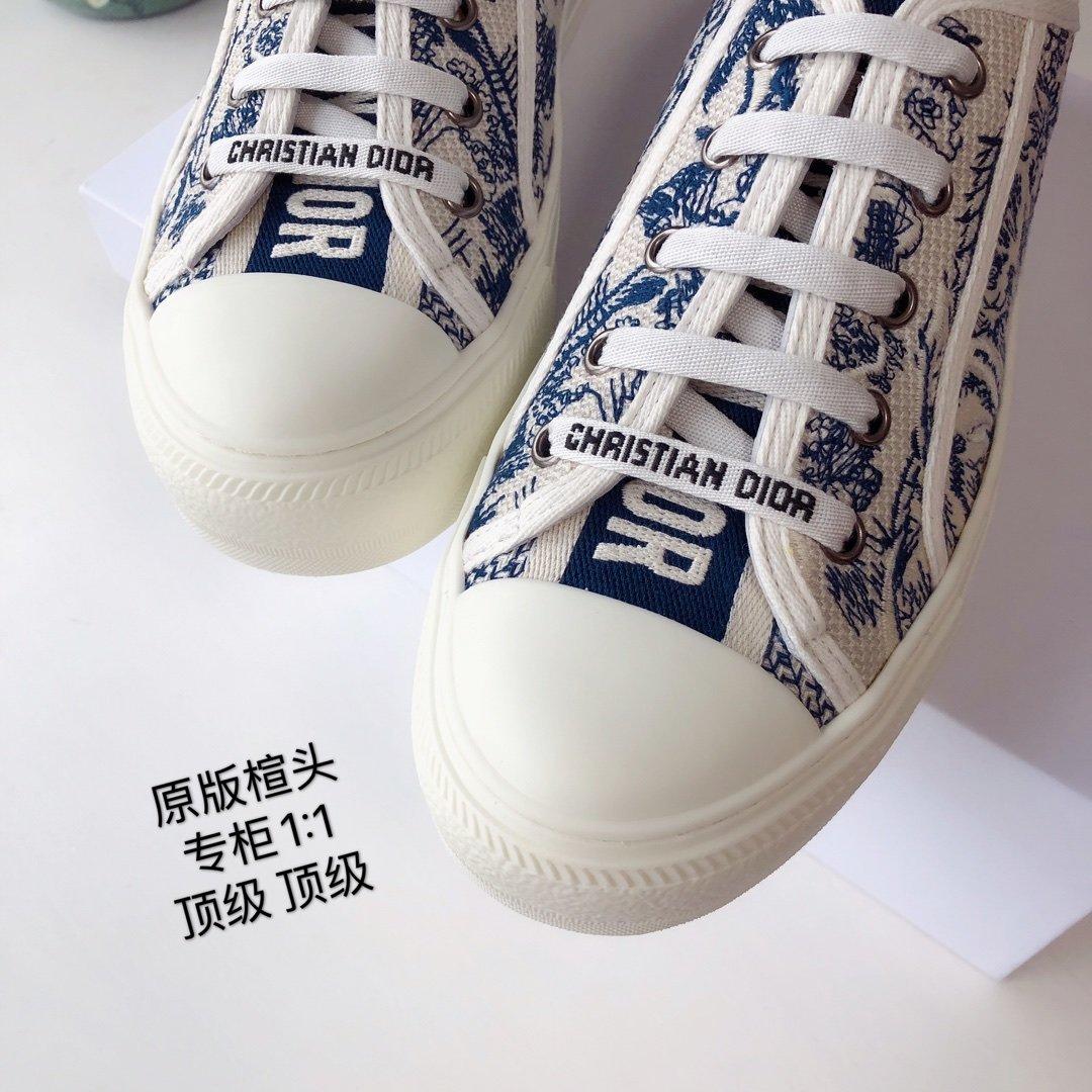 DIOR 2020 秀款板鞋 棉质TOILE DE JOUY 刺绣 WALKNDIOR 运动鞋(图13)