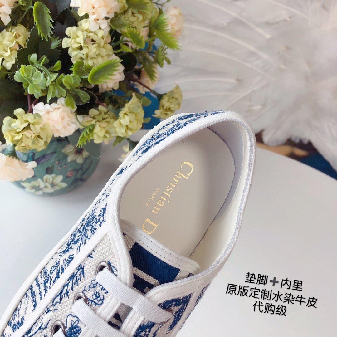 DIOR 2020 秀款板鞋 棉质TOILE DE JOUY 刺绣 WALKNDIOR 运动鞋(图15)