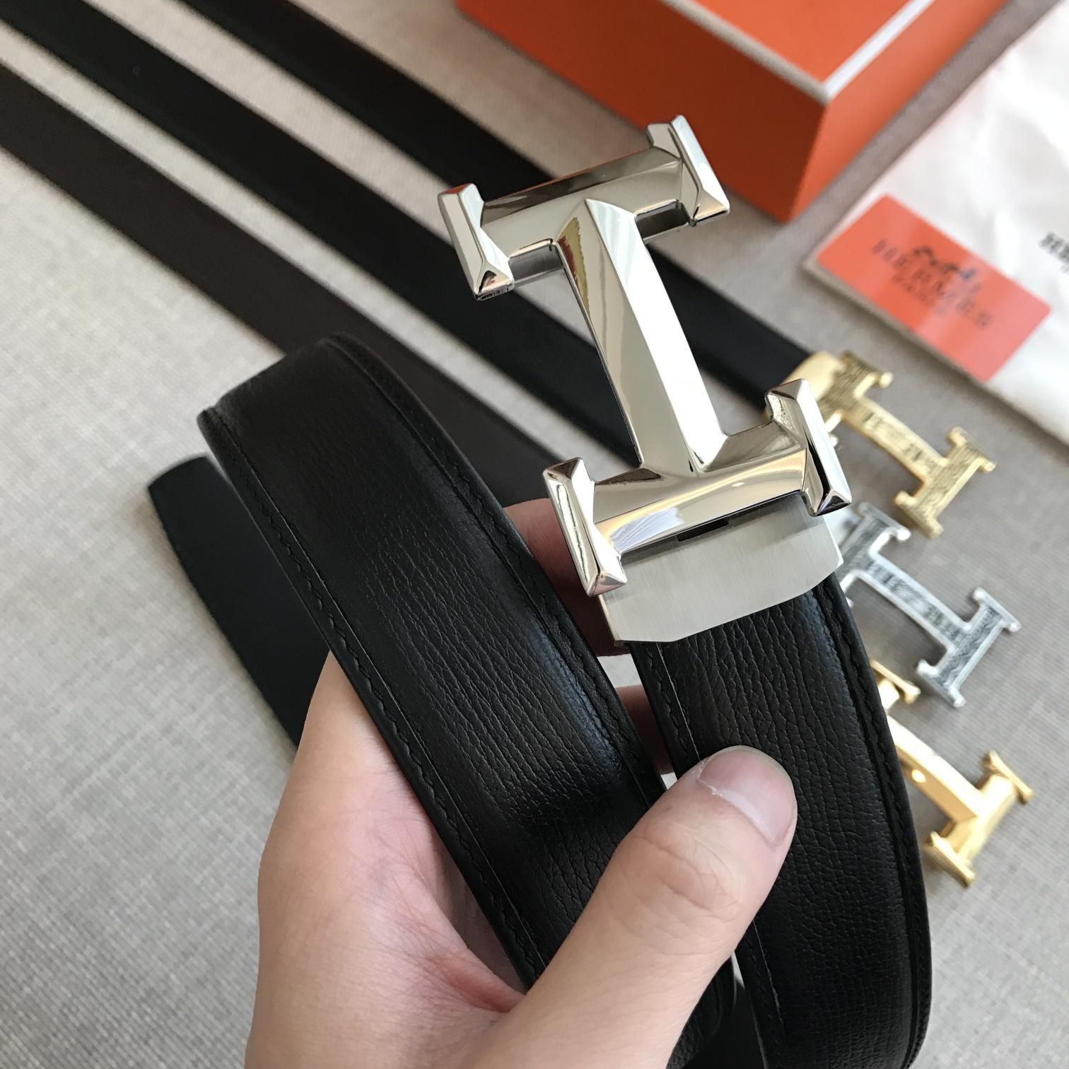 爱马仕Hermes自動平滑帶 原版頭層鯊魚紋腰带(图4)