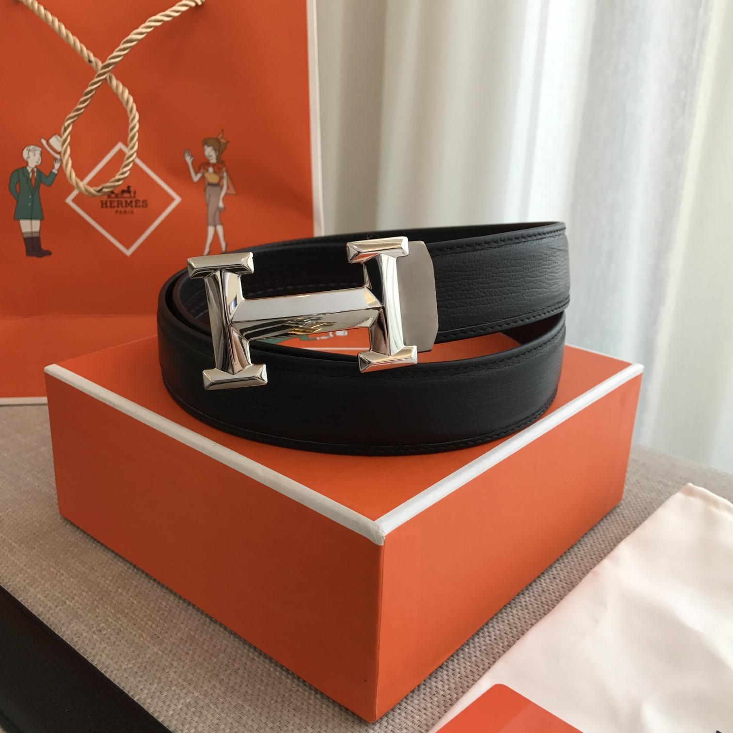爱马仕Hermes自動平滑帶 原版頭層鯊魚紋腰带