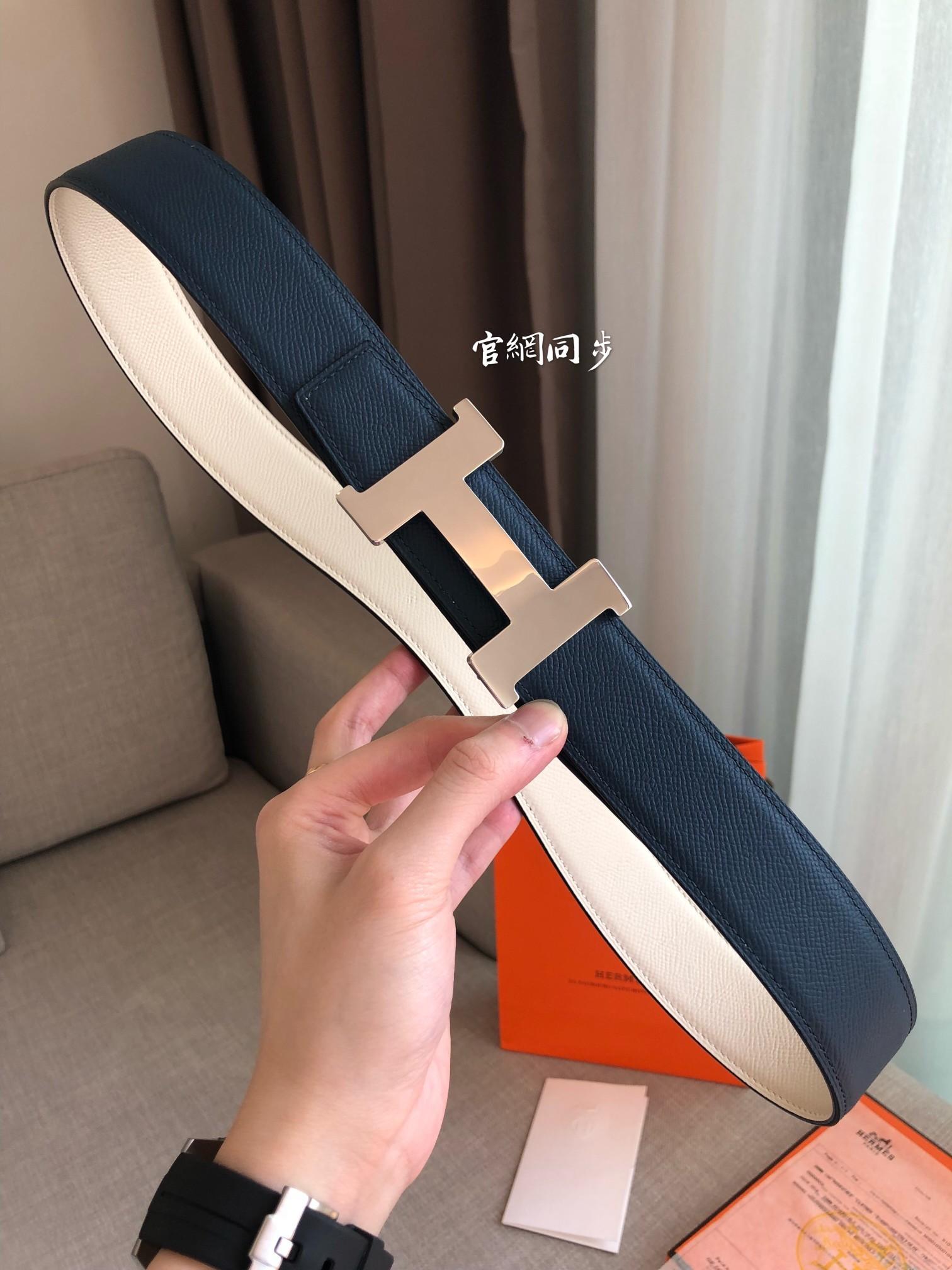 爱马仕Hermes官网同步进口原版皮双面腰带(图3)