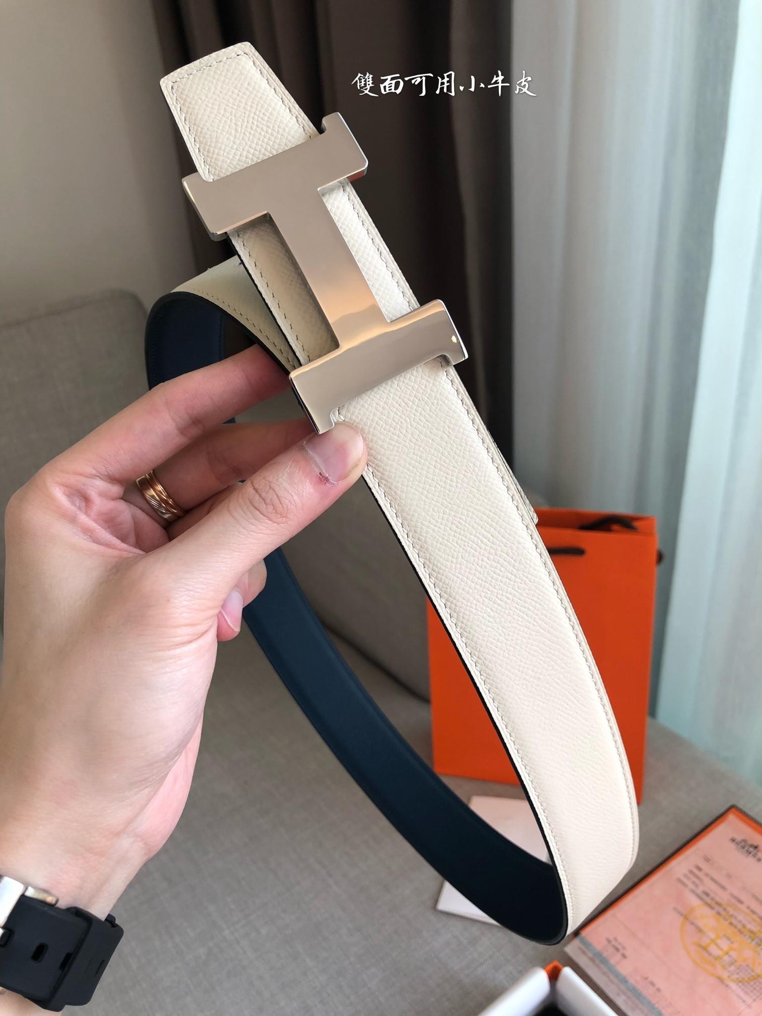 爱马仕Hermes官网同步进口原版皮双面腰带(图5)