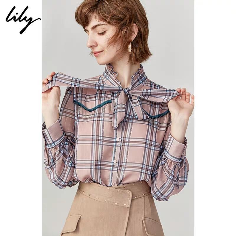 店里现货,拿货70.秋新款女装气质格纹金属流苏宽松长袖荷叶边衬衫
