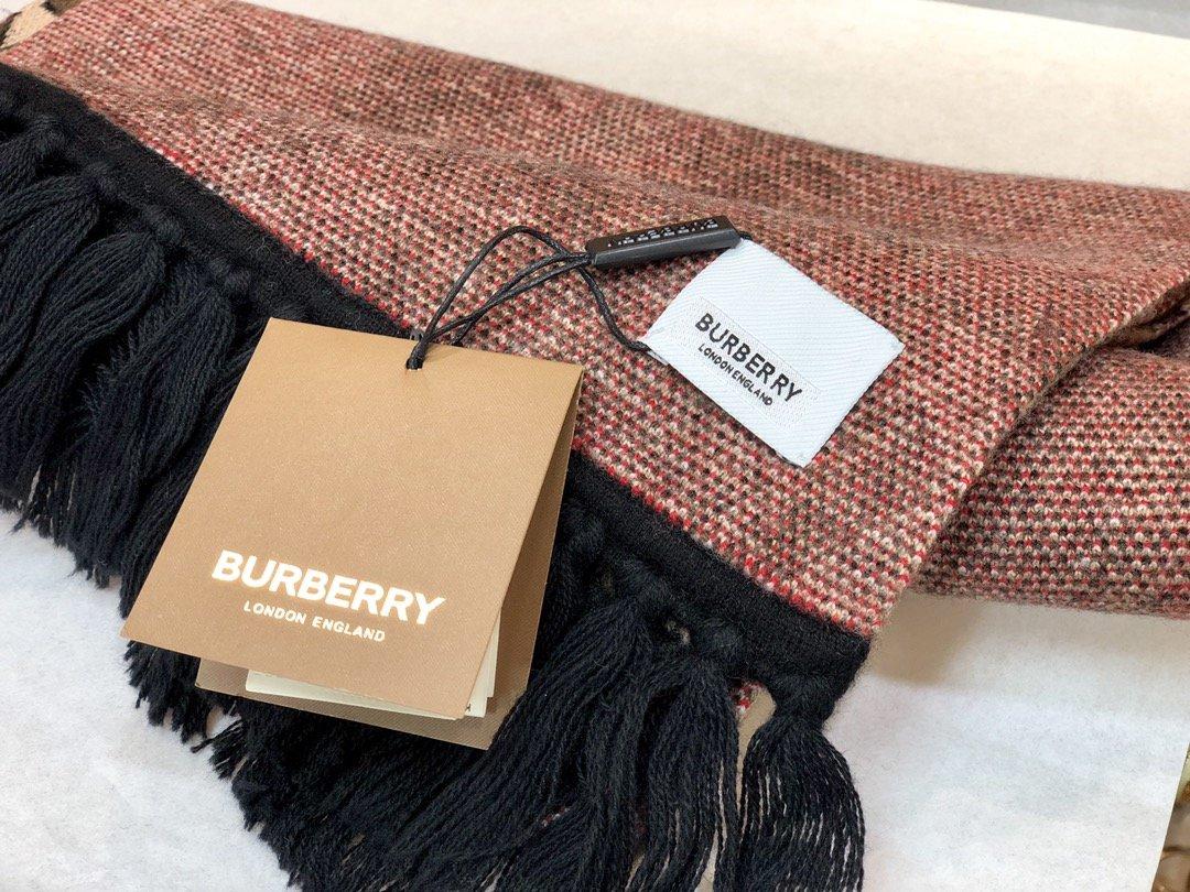 Burberry专属标识条纹羊绒围巾 (图8)