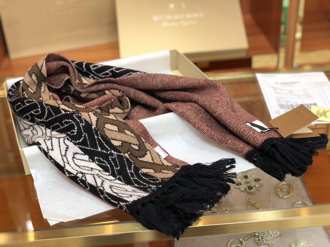 Burberry专属标识条纹羊绒围巾 (图9)