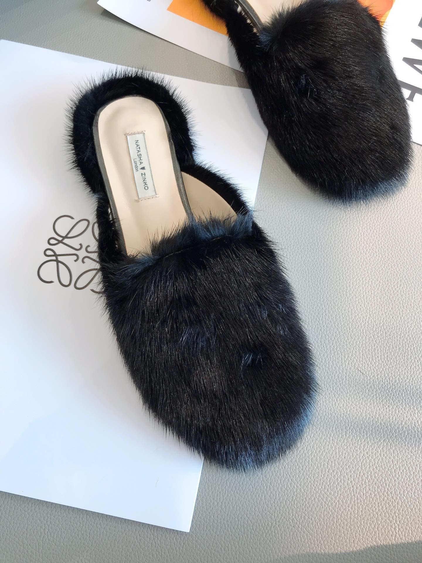 NatashaZinko水貂毛半拖鞋