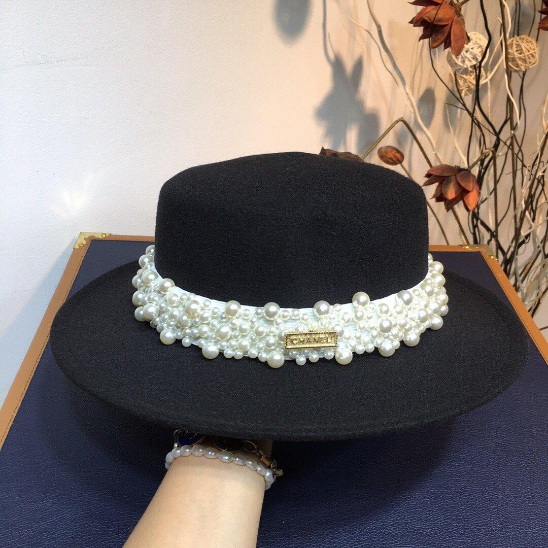 香奈儿CHANEL重工珍珠平顶礼帽1