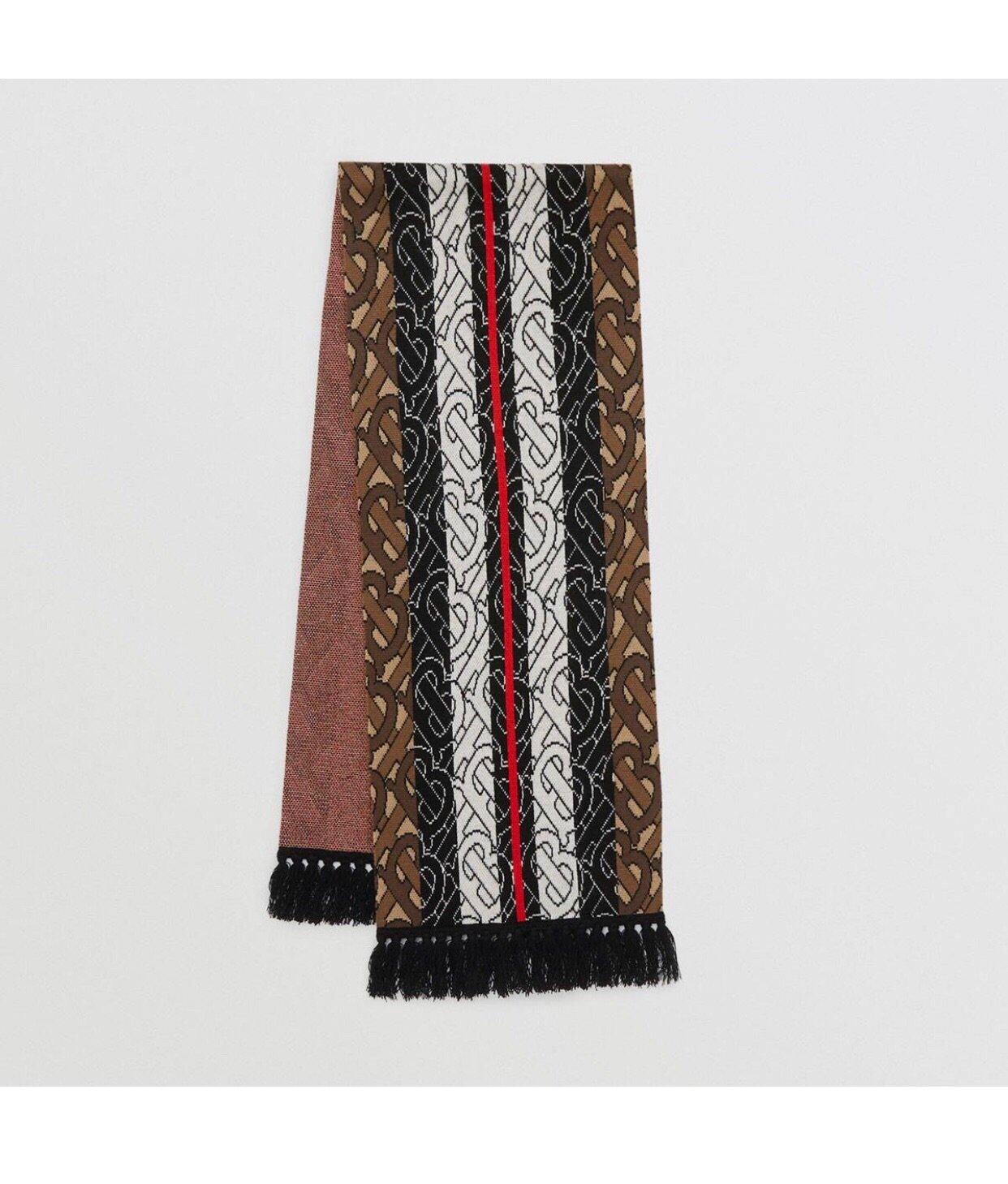 Burberry专属标识条纹羊绒围巾 (图5)