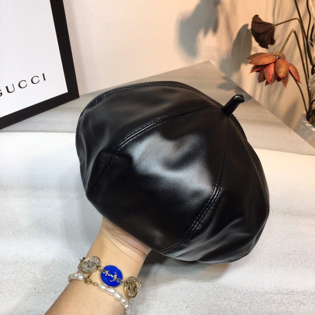 Dior迪奥PU皮贝雷帽画家帽时尚南