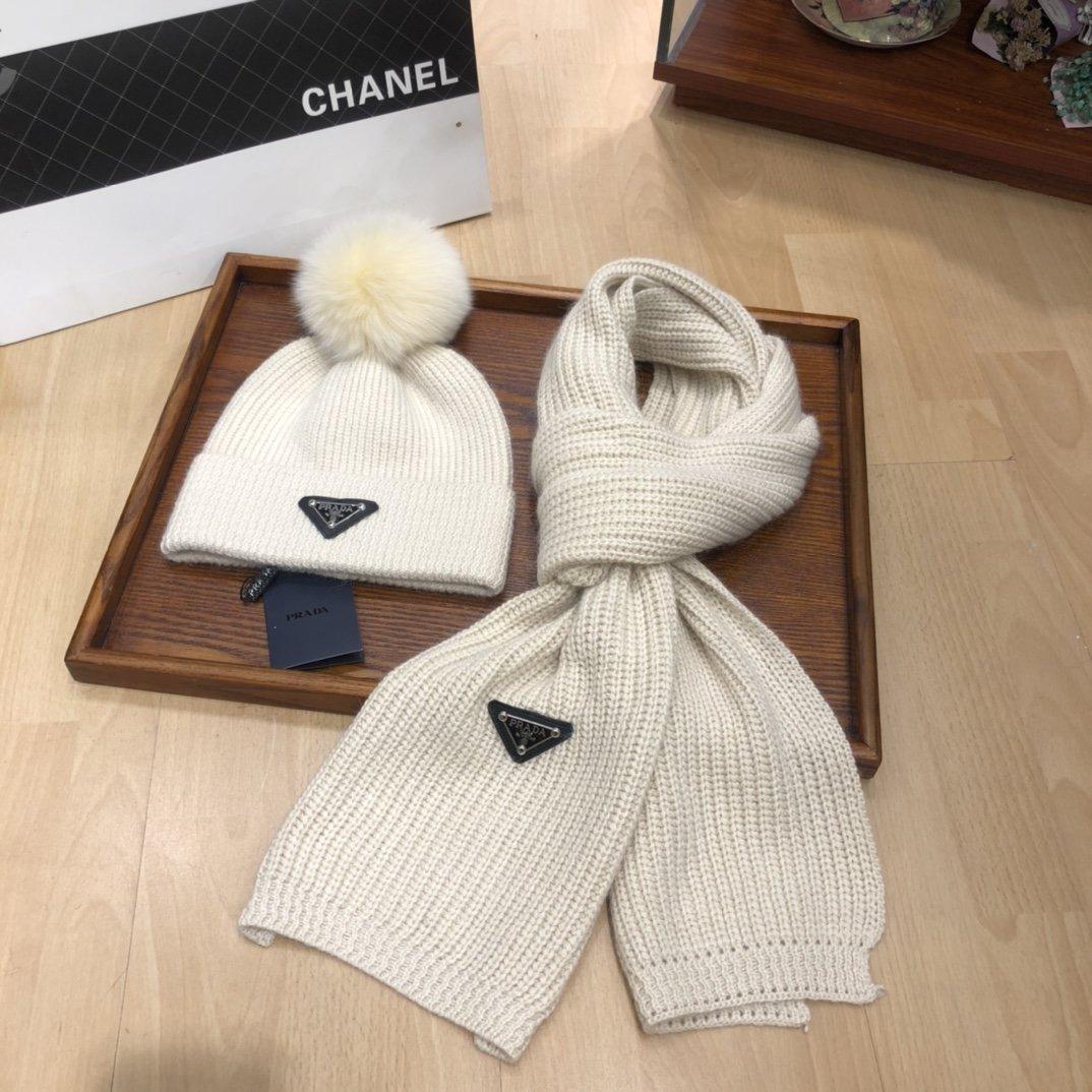 普拉达PRADA爆款帽子围巾套装保暖