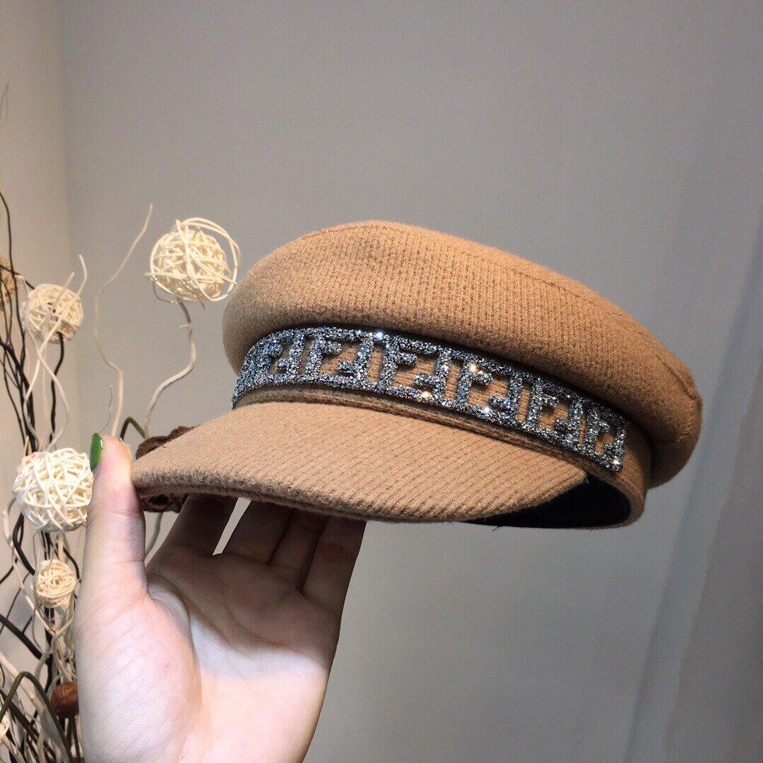 芬迪FF军帽毛呢料子原版定制欧美潮流
