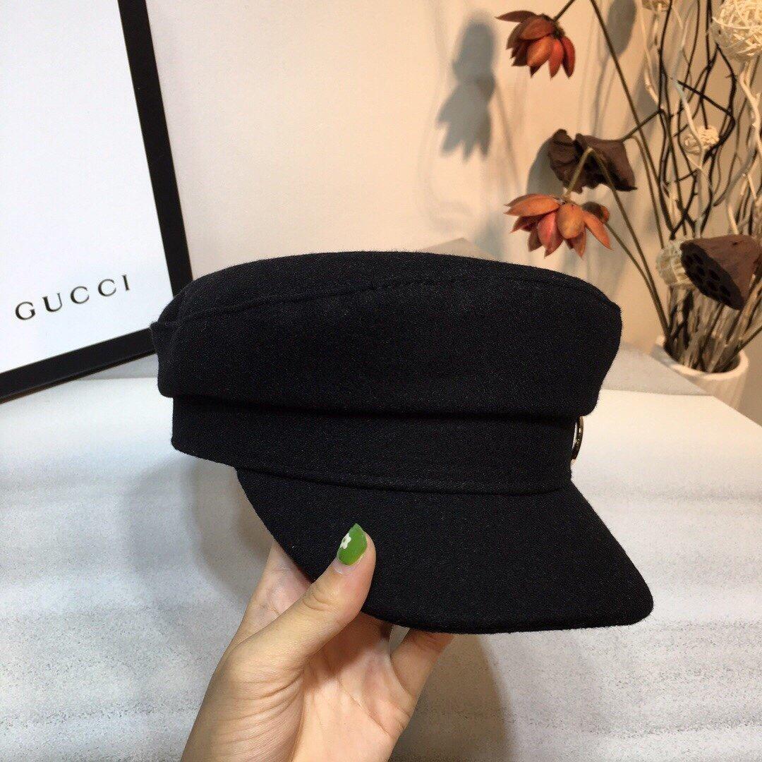古奇GUCCI毛呢GG军帽简单而不简