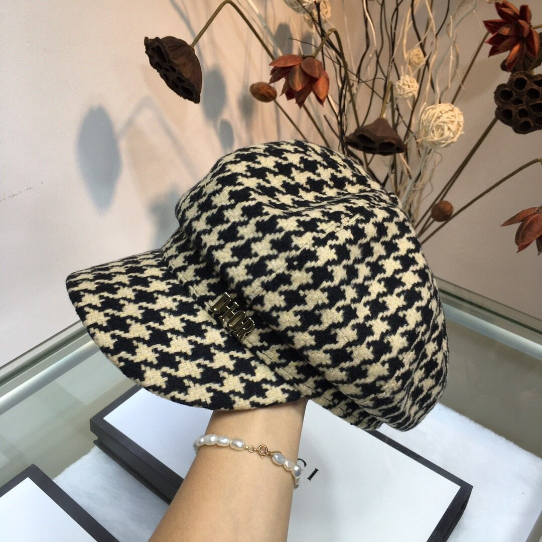 Dior迪奥千鸟格八角帽贝雷帽时尚潮