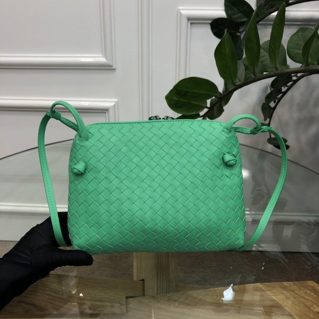 Bottega Veneta宝提嘉 19新款编织胎皮邮差包拉链绳结单肩斜挎包(图2)