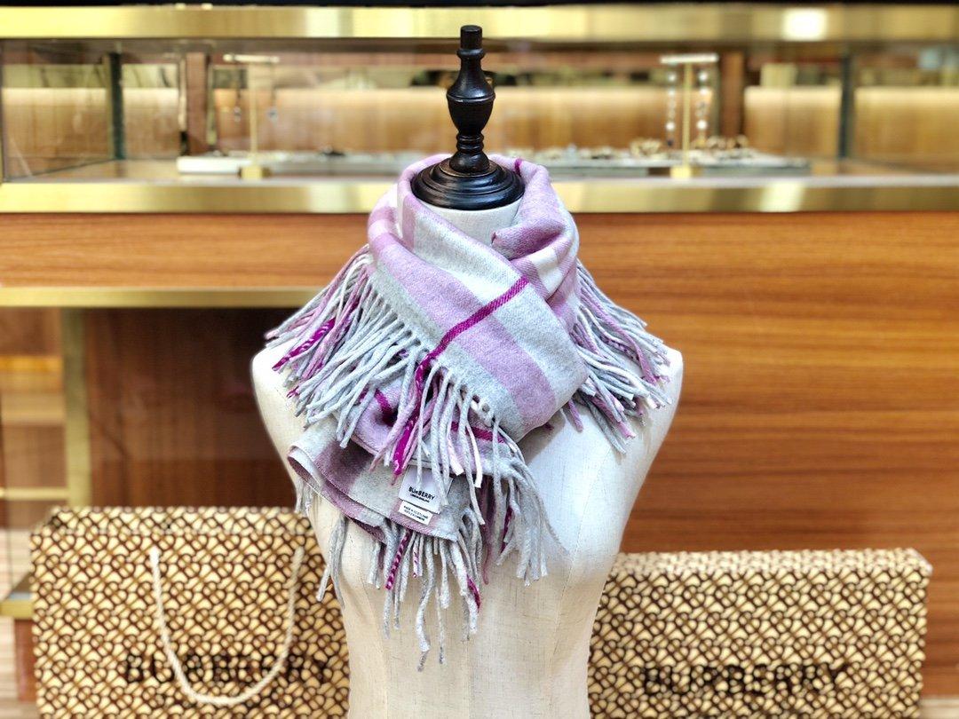 海外原单巴宝莉 100%山羊绒短款蜈蚣围巾  经典格纹围巾(图7)