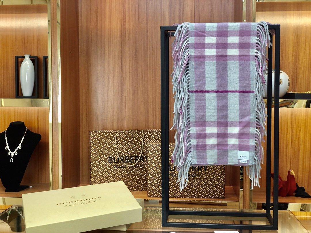 海外原单巴宝莉 100%山羊绒短款蜈蚣围巾  经典格纹围巾(图3)