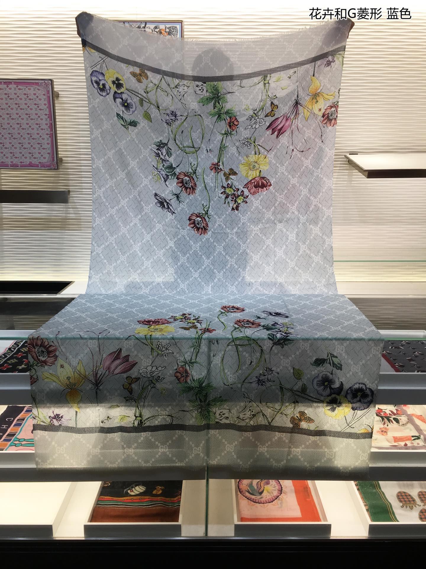 上新G家新款来袭花卉和G菱形羊绒长巾