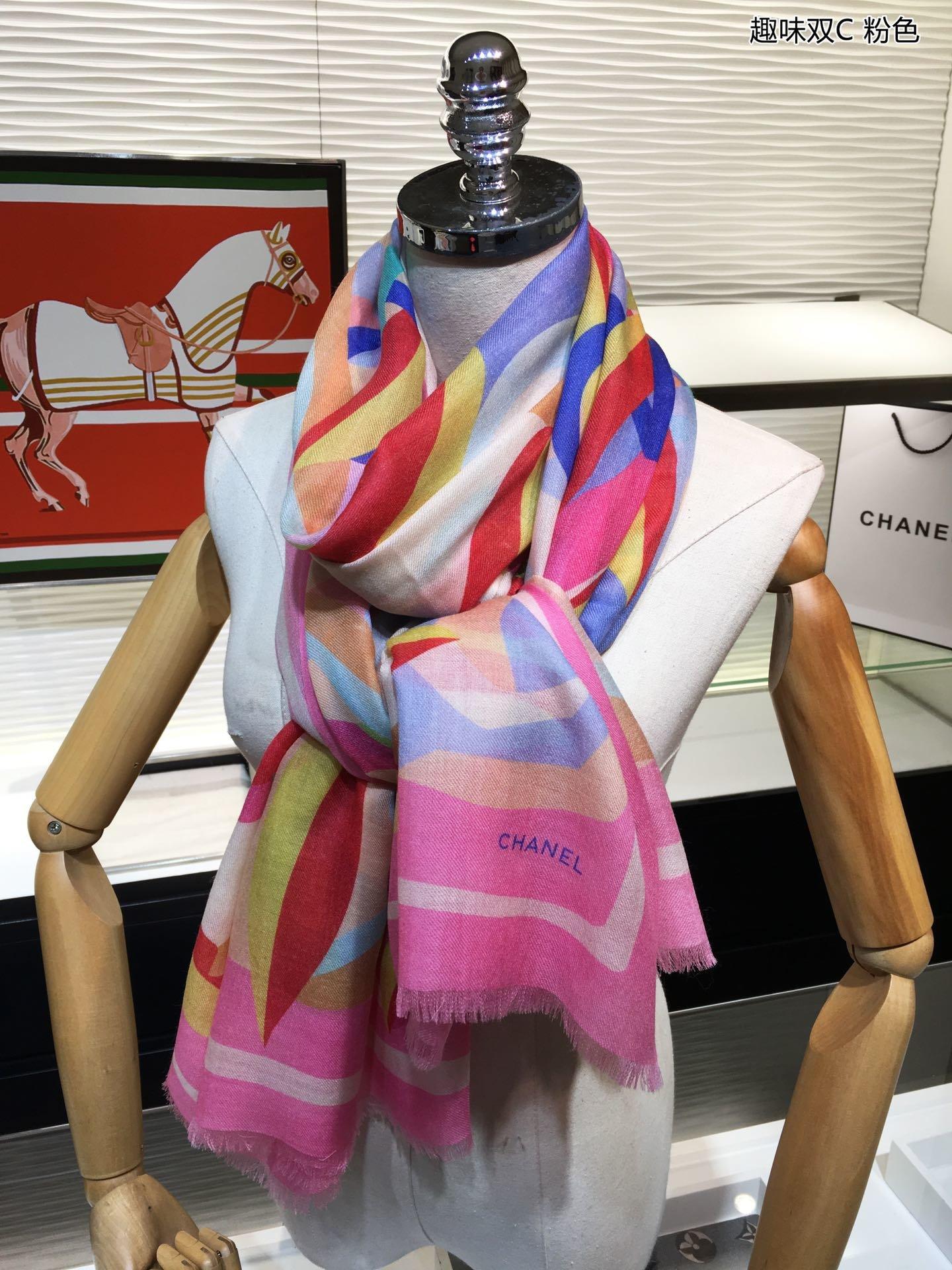 美极了2019最新款趣味双C羊绒围巾