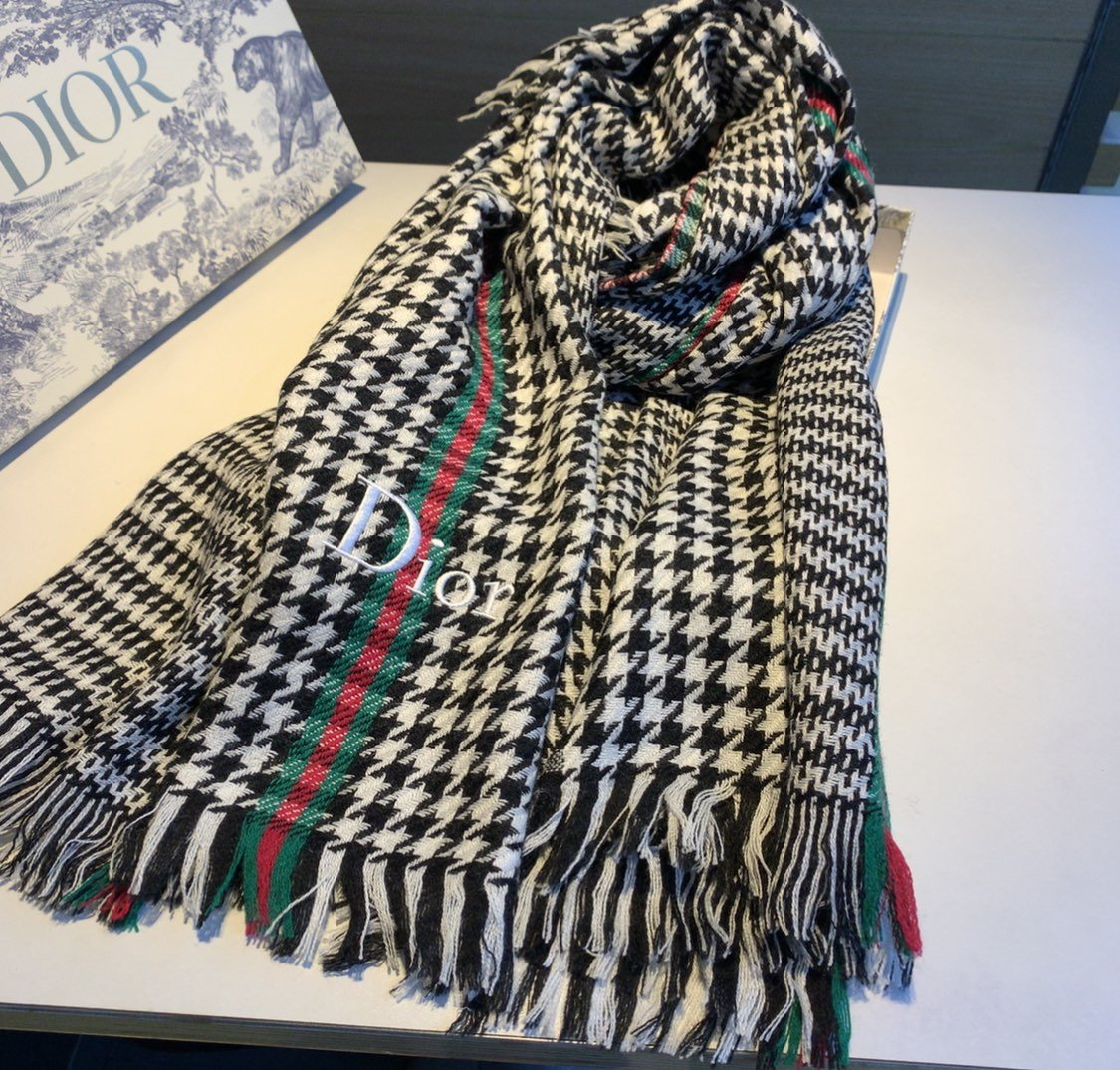迪奥Dior明星同款千鸟格围巾潮流新
