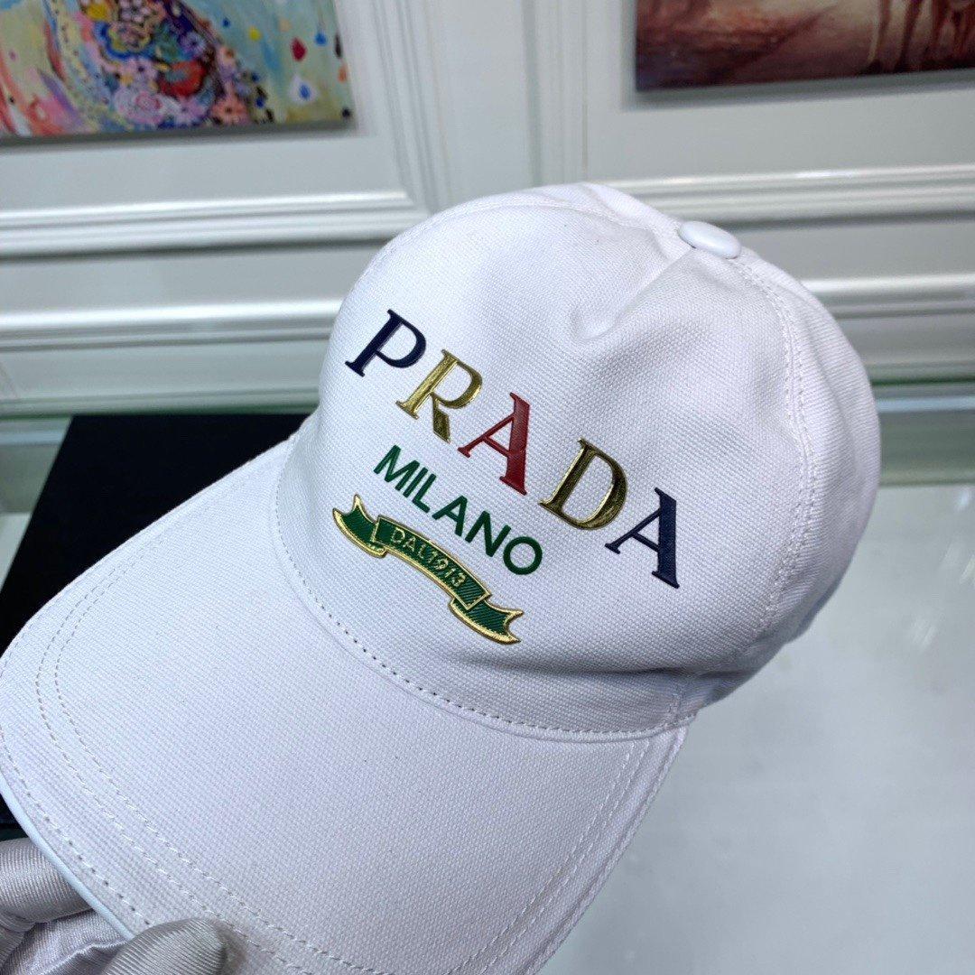 Prada普拉达新款原单棒球帽印字l