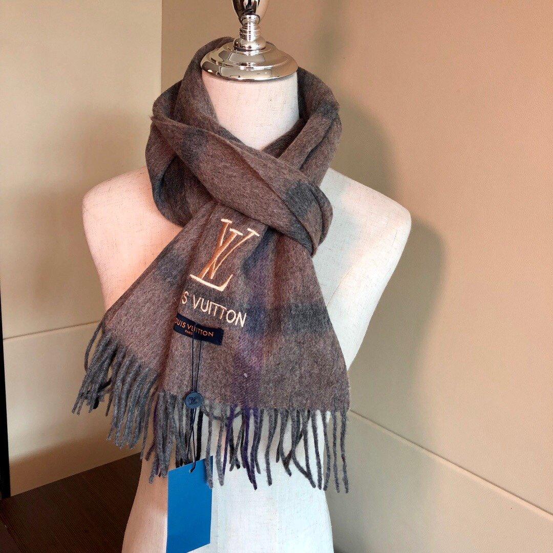 LV海外专柜最新男士女士情侣羊绒围巾