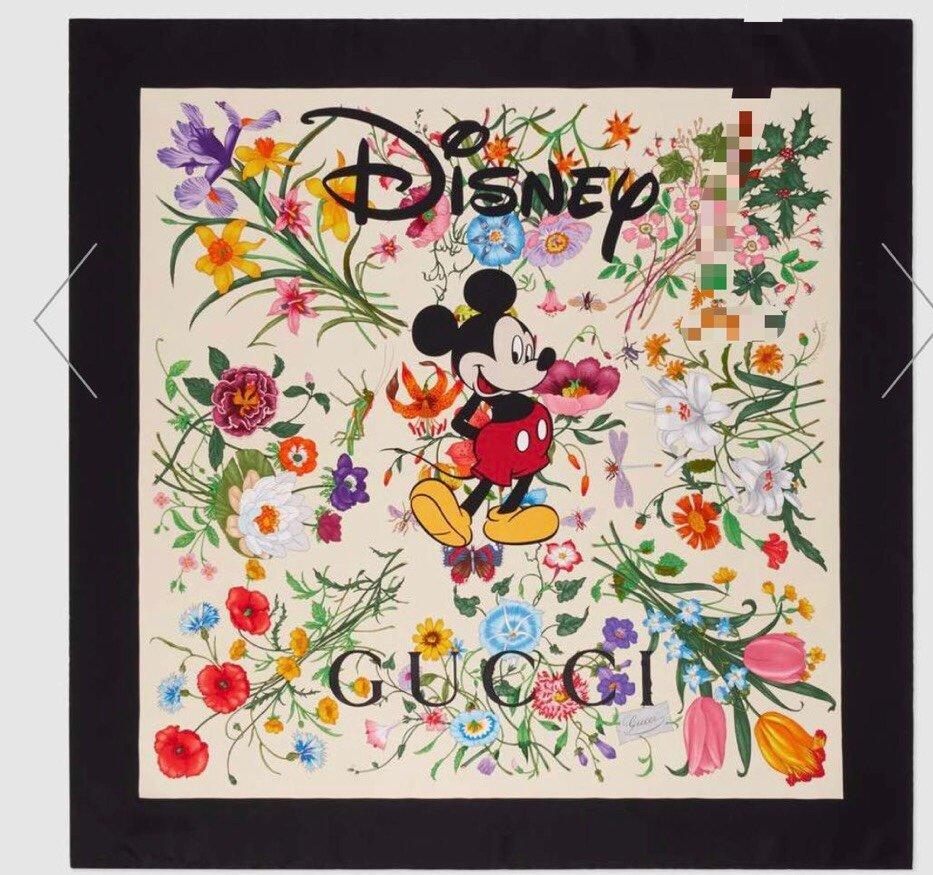 2020早春Gucci Odisney迪士尼米奇印花真丝围巾(图2)