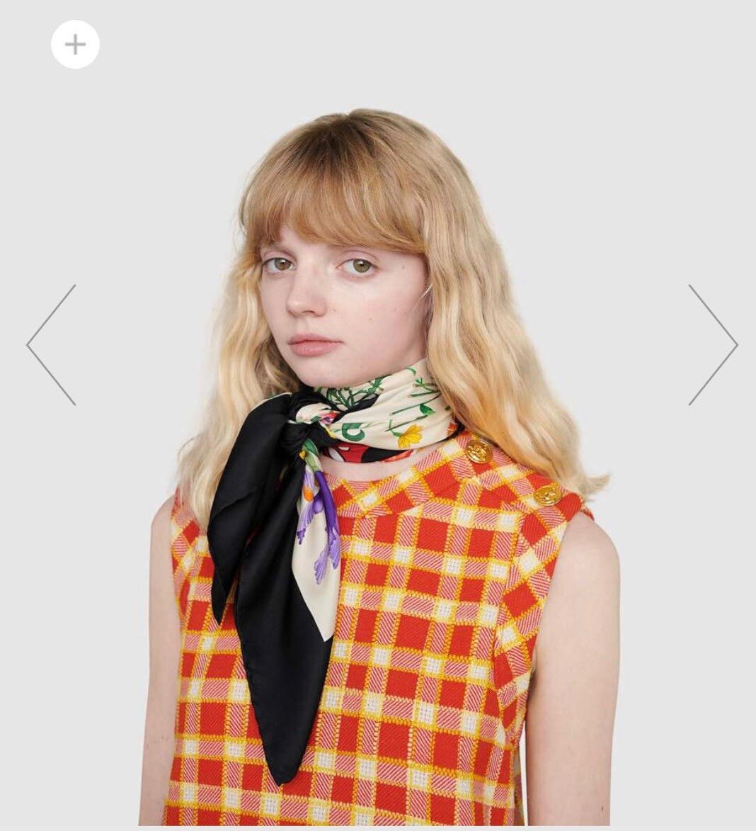 2020早春Gucci Odisney迪士尼米奇印花真丝围巾(图1)