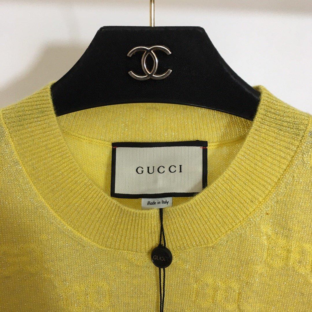 Gucci高版本GG提花亮丝混纺圆领