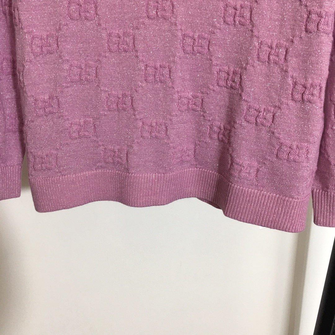 Gucci新款GG字母提花亮丝混纺羊
