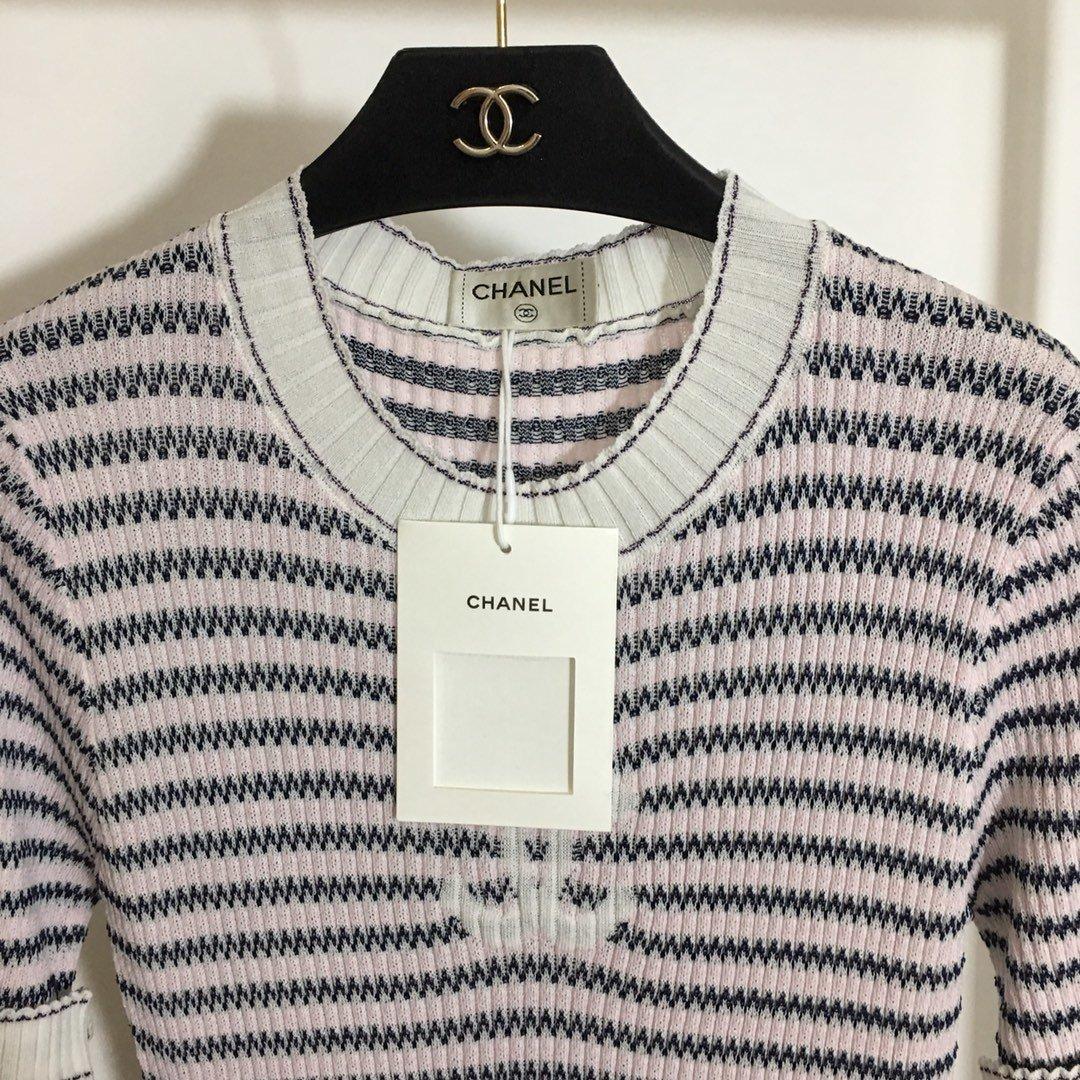 Chanel小香风新款波浪纹撞色条纹