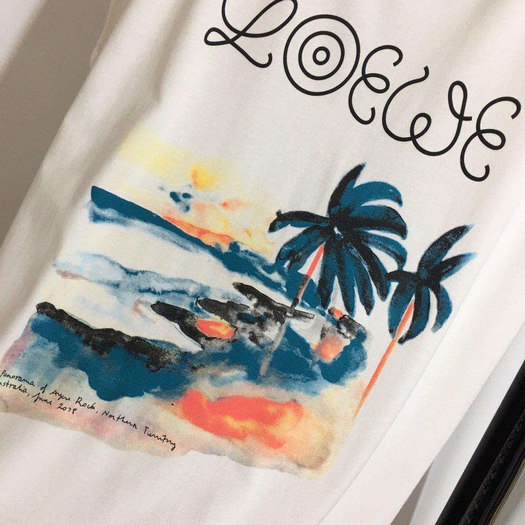 Loewe新款沙滩椰树印花休闲短袖T
