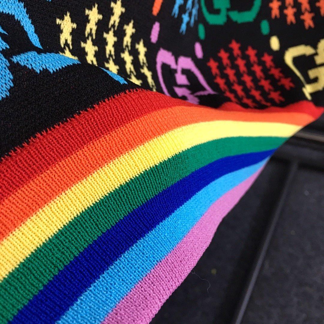 Gucci新款彩虹条纹彩色GG字母五