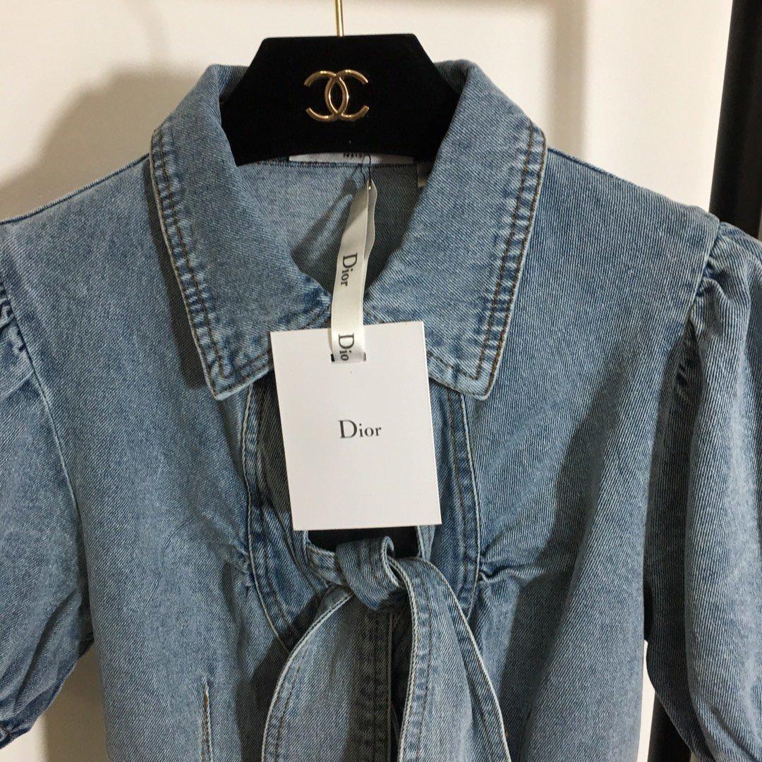 Dior新款蝴蝶绑带灯笼短袖收腰显瘦
