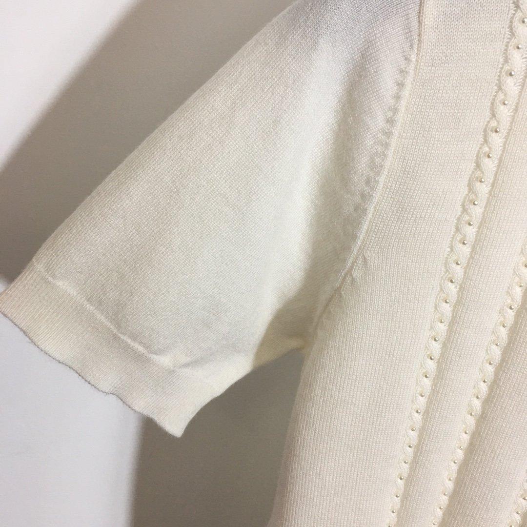 miumiu.新款菱格纹珍珠装饰短袖