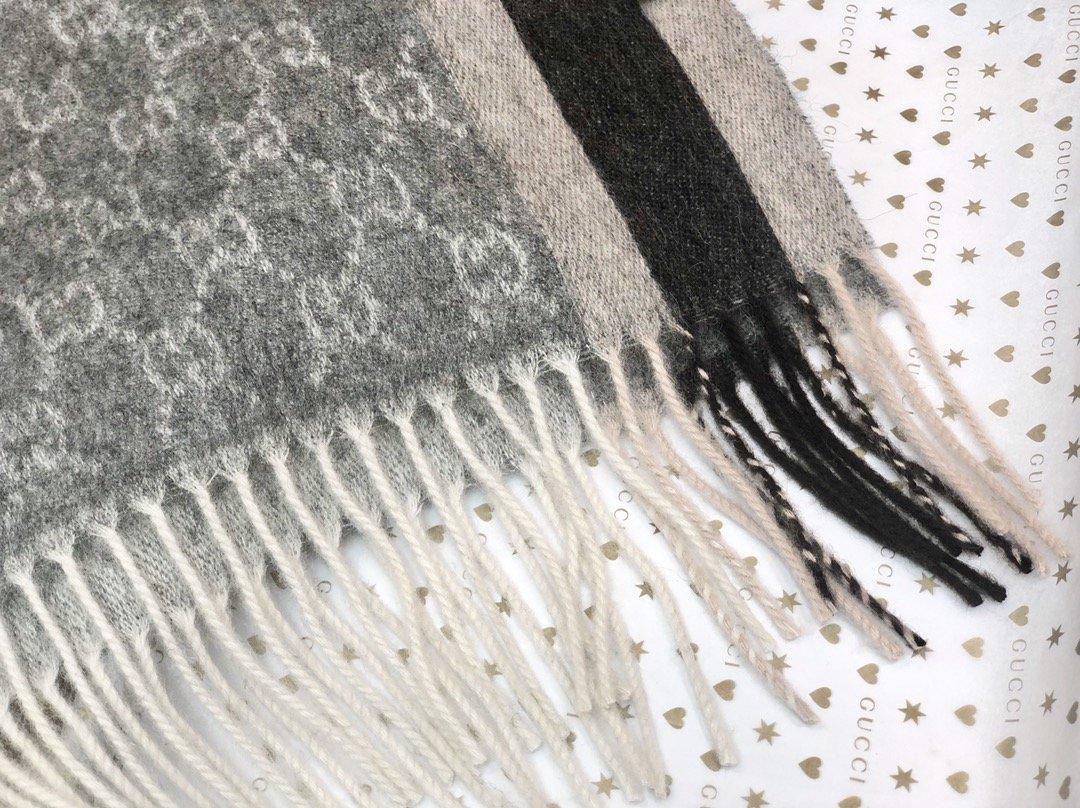 Gucci羊绒围巾 长流苏装饰专柜同款(图3)