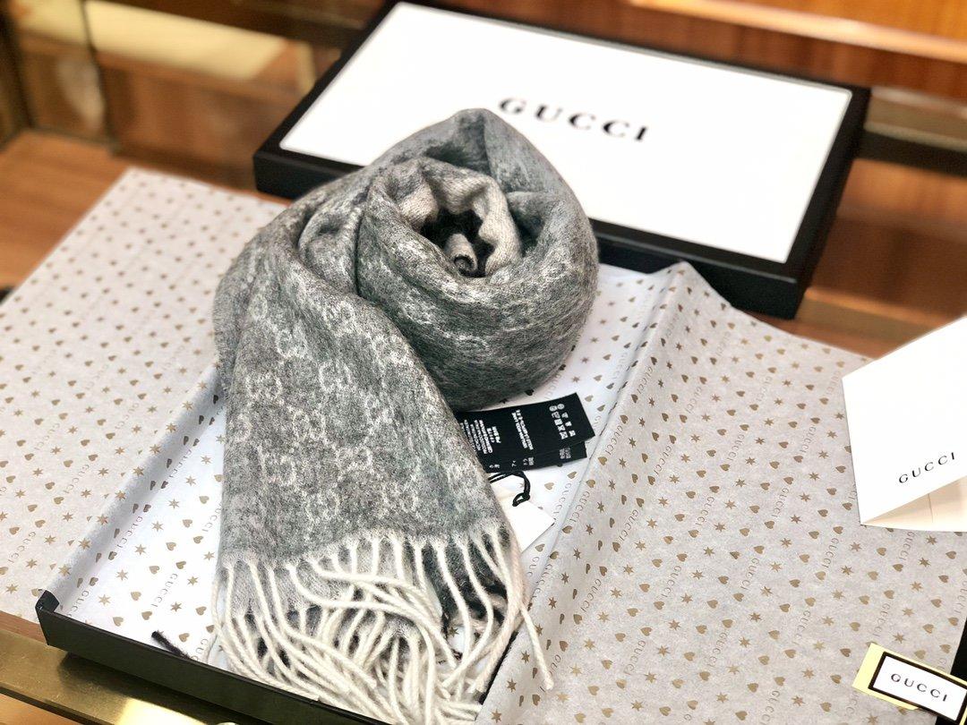 Gucci羊绒围巾 长流苏装饰专柜同款(图5)