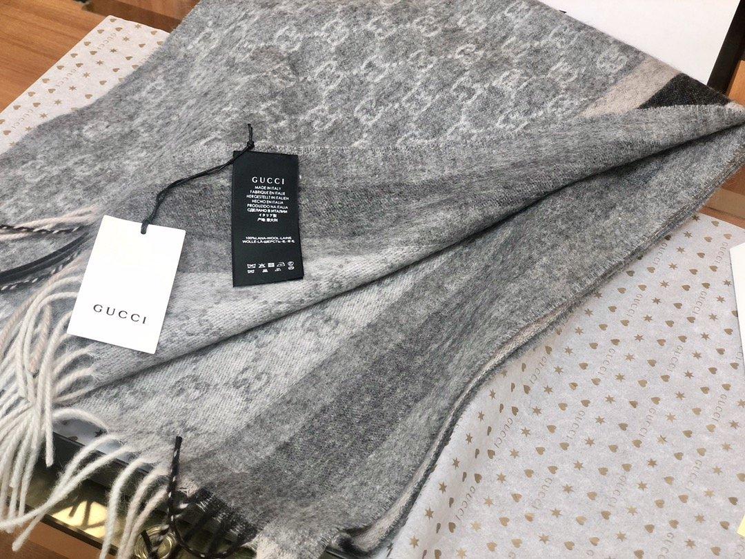 Gucci羊绒围巾 长流苏装饰专柜同款(图6)